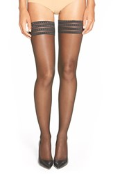 Women's Falke 'Pure Matt 20' Sheer Thigh High Stockings Black