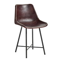 Nordal Leather Chair With Iron Legs Dark Brown