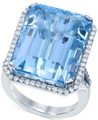 Lali Jewels Aquamarine 20 1 2 Ct. T.W. And Diamond 7 8 Ct. T.W. Ring In 18K White Gold