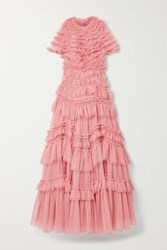 Needle And Thread Wild Rose Tiered Ruffled Tulle Gown Pink