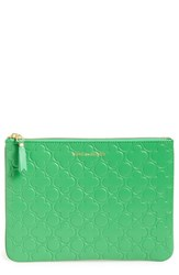 Women's Comme Des Garcons 'Embossed Clover' Leather Zip Up Pouch