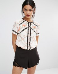 Oasis Printed Blouse Ivory White