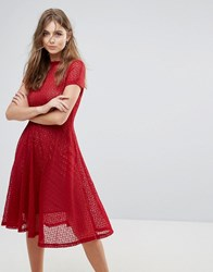 Goldie Lace Flared Midi Dress Red