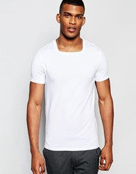 Asos Muscle T Shirt With Square Neck In White White