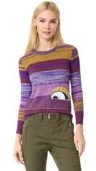 Marc Jacobs Long Sleeve Crew Neck Sweater Bright Purple