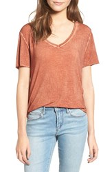 Women's Bp. Washed V Neck Tee Rust Sequoia