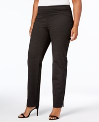Charter Club Plus Size Cambridge Dot Print Pull On Pants Created For Macy's Deep Black Combo