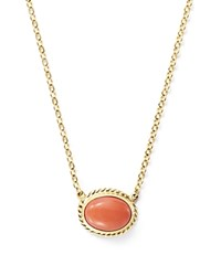 Bloomingdale's Coral Bezel Set Pendant Necklace In 14K Yellow Gold 18 Pink Gold