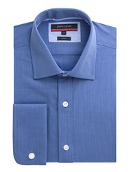 Pierre Cardin Herringbone Classic Fit Long Sleeve Shirt Blue