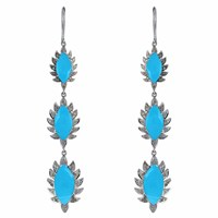 Meghna Jewels Triple Drop Claw Earrings Turquoise And Diamonds Blue