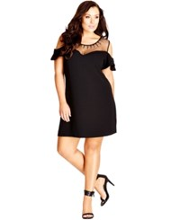 City Chic Plus Size Embellished Illusion Neckline A Line Dress