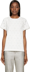 Band Of Outsiders Ivory Silk Lace Scalloped Short Sleeve T Shirt