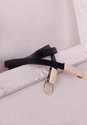 Missguided Thin Double Buckle Belt Black