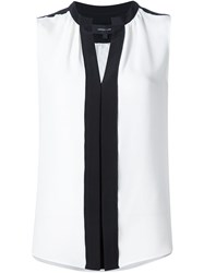 Derek Lam Pleated Placket Sleeveless Blouse White