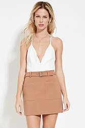 Forever 21 Belted Mini Skirt Camel