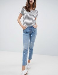 Esprit Daisy Embroidered Jean Blue