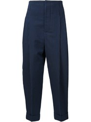 Haider Ackermann Pinstriped Cropped Trousers Black
