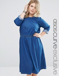 Asos Curve Denim Midi Skater Dress With 3 4 Sleeve Blue