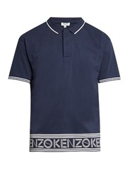 Kenzo Branded Hem Cotton Polo Shirt Navy