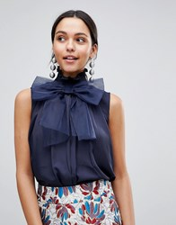 Traffic People High Neck Top With Bow Navy