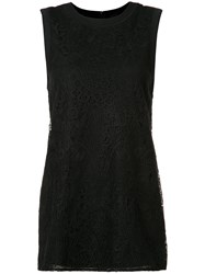 Vera Wang Lace Panel Tank Top Black