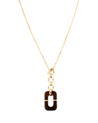 Geometric Wood Link Pendant Necklace 31' Diane Von Furstenberg