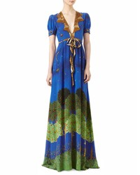 Gucci Night Garden Print Silk Gown Blue Night