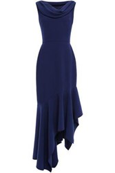 Reem Acra Woman Asymmetric Draped Crepe Maxi Dress Navy