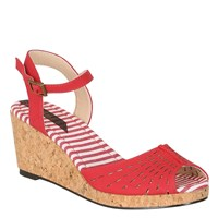 Betsy Peep Toe Cut Out Wedge Red