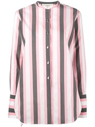 Ports 1961 Striped Collarless Shirt Women Cotton Cupro 40 Pink Purple