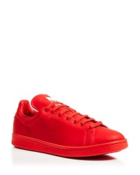 Raf Simons For Adidas Flat Lace Up Low Top Sneakers Stan Smith Trainer Red White