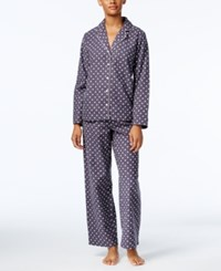Alfani Printed Flannel Pajama Set Only At Macy's Grey Dot