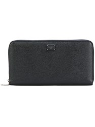 Dolce And Gabbana Zip Around Continental Wallet Men Calf Leather One Size Black