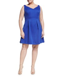 Taylorplus Jacquard Fit And Flare Dress Blue