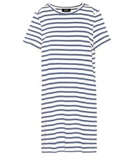 A.P.C. Striped Cotton T Shirt Dress Blue