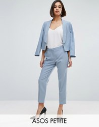 Asos Petite Ankle Grazer Cigarette Trousers In Crepe Ice Blue