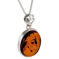 Be Jewelled Oval Amber Heart Detail Pendant Necklace Cognac