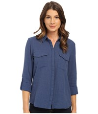 Mavi Jeans Button Down Shirt Insignia Blue Melange Women's Long Sleeve Button Up
