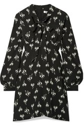 Re Done 60S Pussy Bow Printed Silk Crepe Mini Dress Black