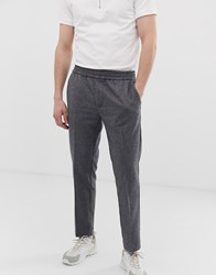 Kiomi Slim Wool Trousers With Elastic Waist In Grey