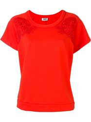 Sonia By Sonia Rykiel Lace Embroidery Wide Fit T Shirt Red