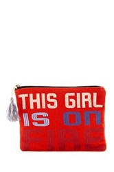 Lulu Text Pouch Red