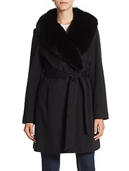 Sofia Cashmere Fox Fur Trimmed Wool And Wrap Coat Black