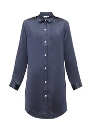 Derek Rose Bailey Silk Charmeuse Nightshirt Navy