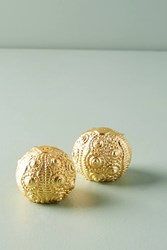 Anthropologie Urchin Salt Pepper Shaker Set Gold