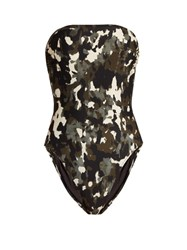 Norma Kamali Bishop Strapless Swimsuit Khaki Multi