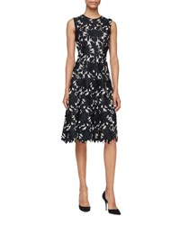 Lela Rose Seamed Floral Lace Dress Black Ivory Black Ivory