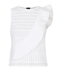 Pinko Perforated Ruffle Top Female White