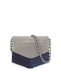 Nancy Gonzalez Crocodile Two Tone Triangle Flap Crossbody Bag Navy