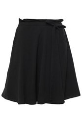 Dkny Woman Bow Detailed Wrap Effect Satin Crepe Min Skirt Black